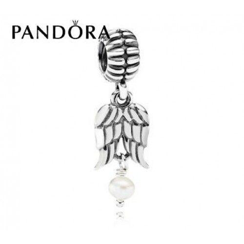 Authentique Perle Ailes d'Ange Dangles Pandora Charms Pas Cher