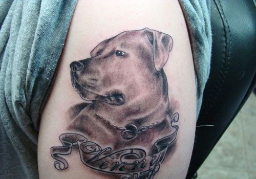Dog Name Tattoo Design On Sleeve -Readmore http://tattoosclick.com/dog-tattoo-designs/