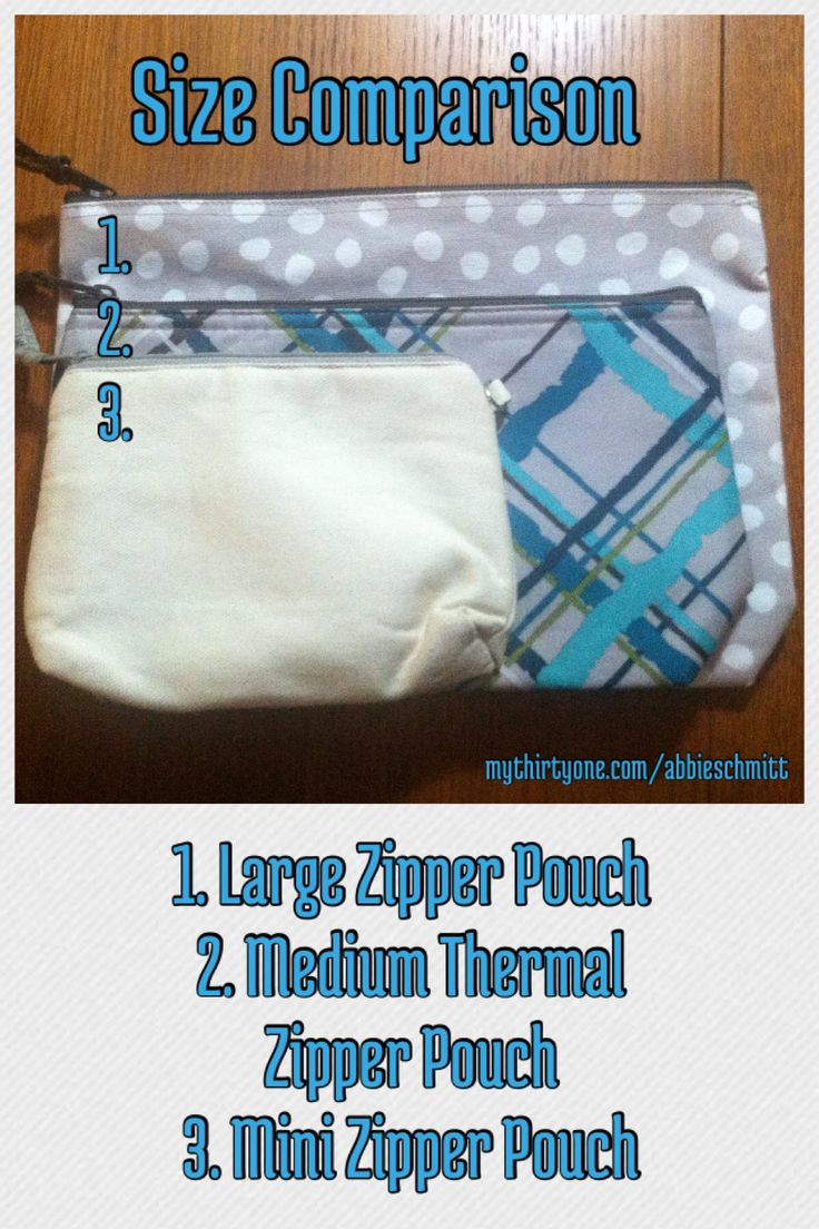 Size comparison for zipper pouches *do not alter photo!* http://mythirtyone.com/opolski