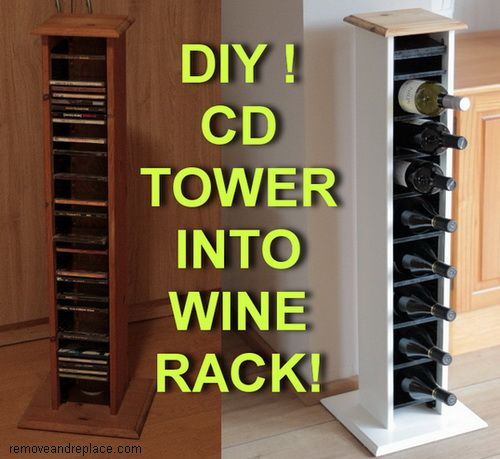 Repurposed And Reinvented – How To Turn A Wooden CD Tower Into A Beautiful Wine Bottle Holder With Internal LED Lighting!