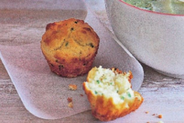 Creamy zucchini and basil soup with parmesan muffins