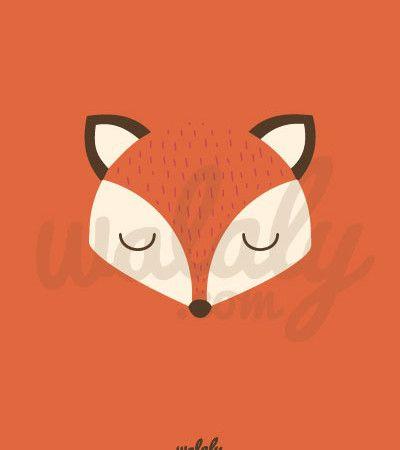 """Láminas para imprimir """"Zorro de colores"""" naranja dormido"""
