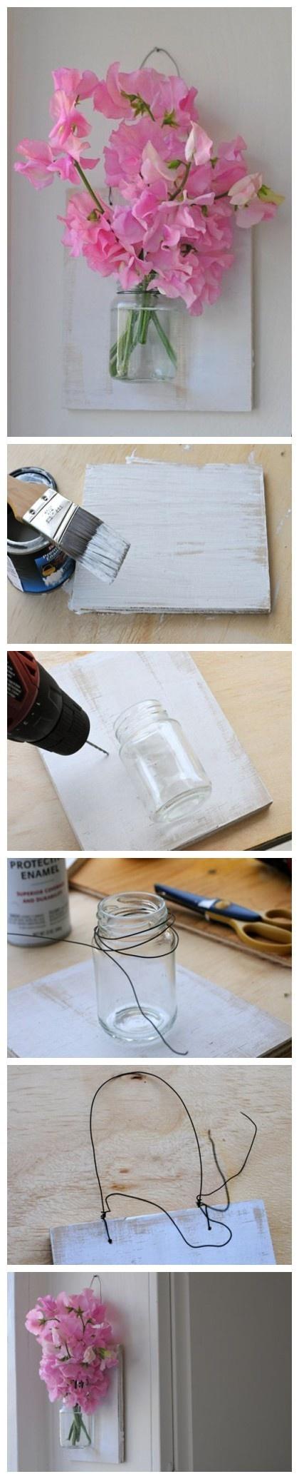 cute mason jar on wood idea to hang