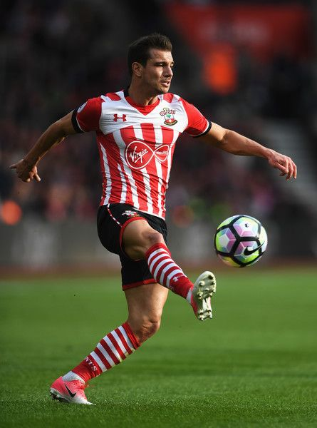 Cedric Soares of Southampton in action during the Premier League match between Southampton and Manchester City at St Mary's Stadium on April 15, 2017 in Southampton, England.