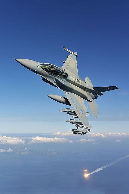 Greece Air Force's F-16...deploying flares...