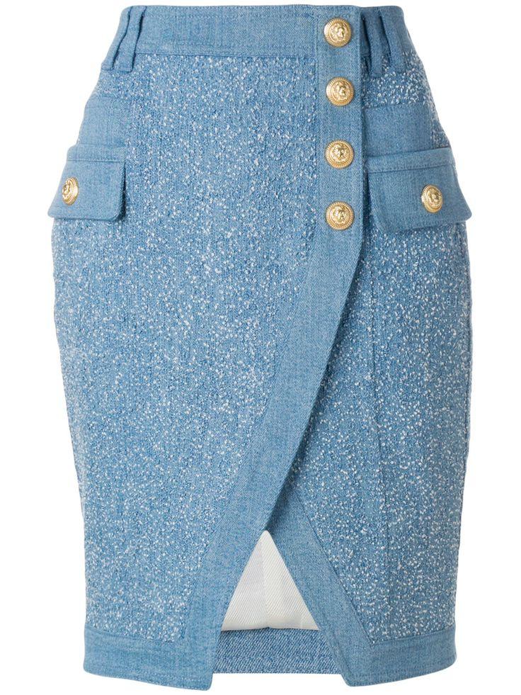 Balmain Embossed-button Skirt - Farfetch
