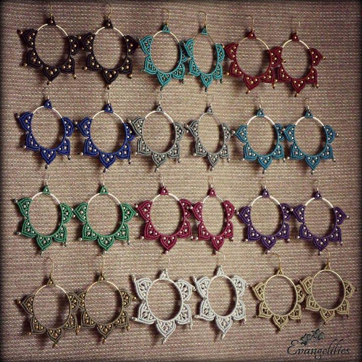 """✿ """"Lotus"""" macrame hoop earrings #evangelilies #macrame #micromacrame #micromacramejewelry #macramejewelry #macrameearrings #macrameart #macramelove #handmadejewelry #μακραμέ #χειροποιητακοσμηματα #χειροποίητο #handmadewithlove #handmadeearrings #madeingreece #madebyme #hippiejewelry #knottedjewelry #hoopearrings #bohemian #bohemianearrings #gypsyearrings #bohojewelry #bohoearrings #hippieearrings #lotusearrings"""