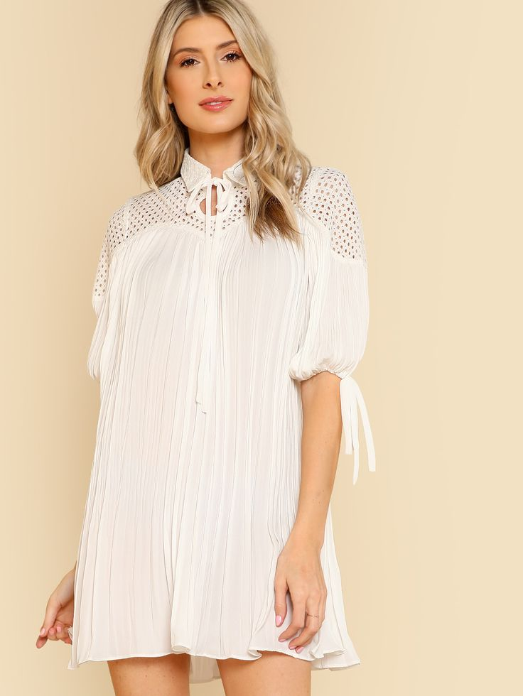 Shop Pleated Swing Dress With Lace Inset WHITE online. SheIn offers Pleated Swing Dress With Lace Inset WHITE & more to fit your fashionable needs.