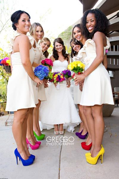 The dresses often steal all the credit, but what's a girl without a pair of killer shoes? We love how this line up draws attention to fabulous pumps without distracting from the girls wearing them.Related: Rainbow-Inspired Wedding Ideas