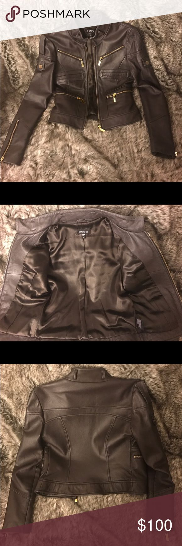 Bebe Brown Leather moto jacket Bebe Mocha brown leather motorcycle jacket bebe Jackets & Coats