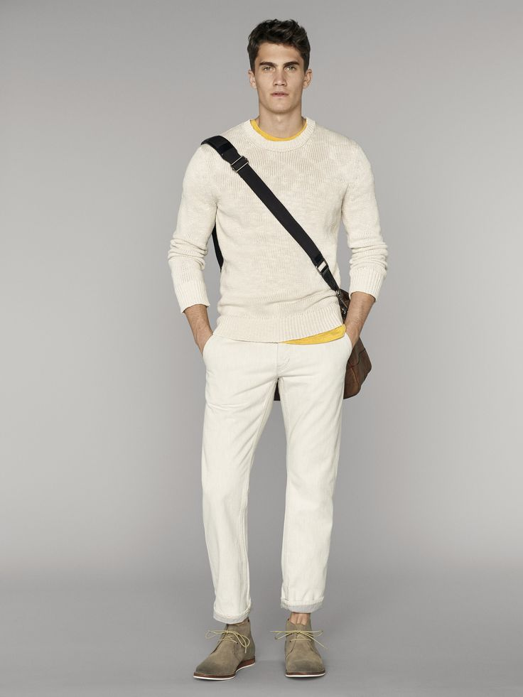 Love this classic men's white sweater and white pants ensemble. We've added a splash of color with a bright yellow shirt | Banana Republic Summer '16