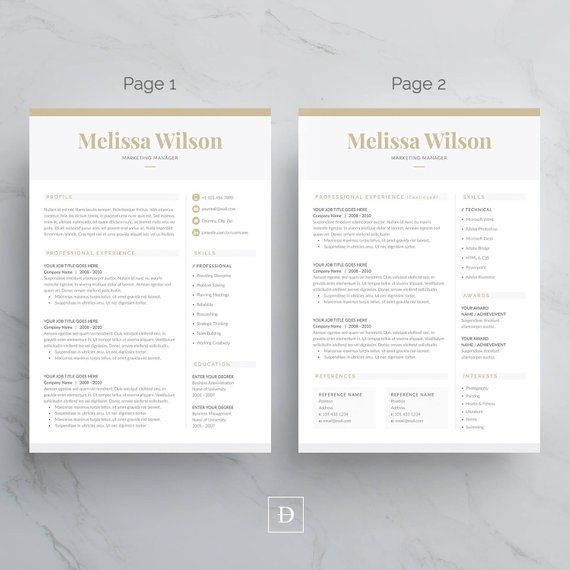 Resume Template 4 Page Cv Template Cover Letter For Ms Word Instant Digital Download Melissa Cover Letter Template Resume Cover Letter Template Cover Letter For Resume