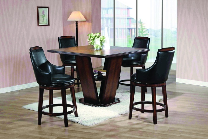 This modern dining room set features a counter high table for Dining room table with swivel chairs