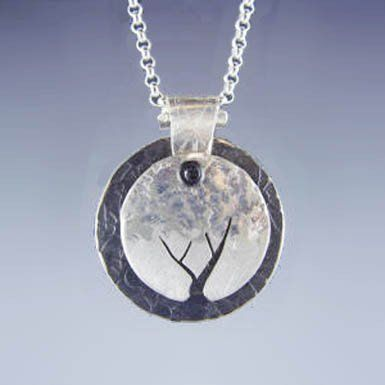 Stuart Peterman Sterling Silver and Oxidized Steel Tree Necklace