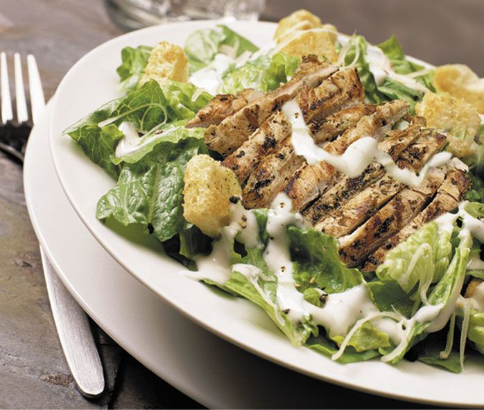 Chicken & Bacon Ceaser salad.  Although a ceaser salad is meant to be healthy, I can't help but wolf down a 4 person portion if its put infront of me.  Lettuce, croutons, baby tomatoes, chicken, bacon, parmasan and ceaser dressing.