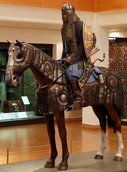 Ottoman mail and plate armor for horse and soldier, this type of armor became the standard equipment for the heavy cavalry under the Timurids (1370-1506), the Mongol successor empire which ruled from Samarkand, and under the Ottoman Turks. These cavalry, armed with bow, sword and sometimes lance, were the main component of all medieval Islamic armies. Royal Armouries in Leeds, England