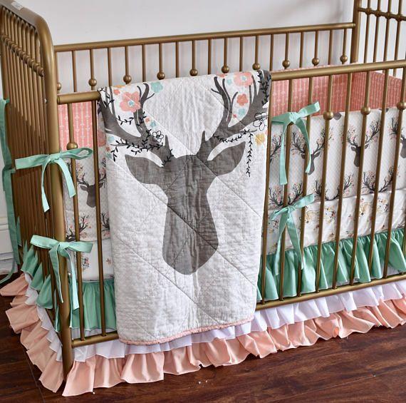 Large Deer Head Crib Bedding Baby Girl Coral Bedding Peach Coral And Mint Deer Head Going Stag Floral Antlers Fawn Doe Baby Crib Bedding Coral Bedding Baby Cribs