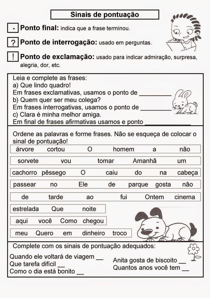 Atividades de português 2 ano fundamental pontuação
