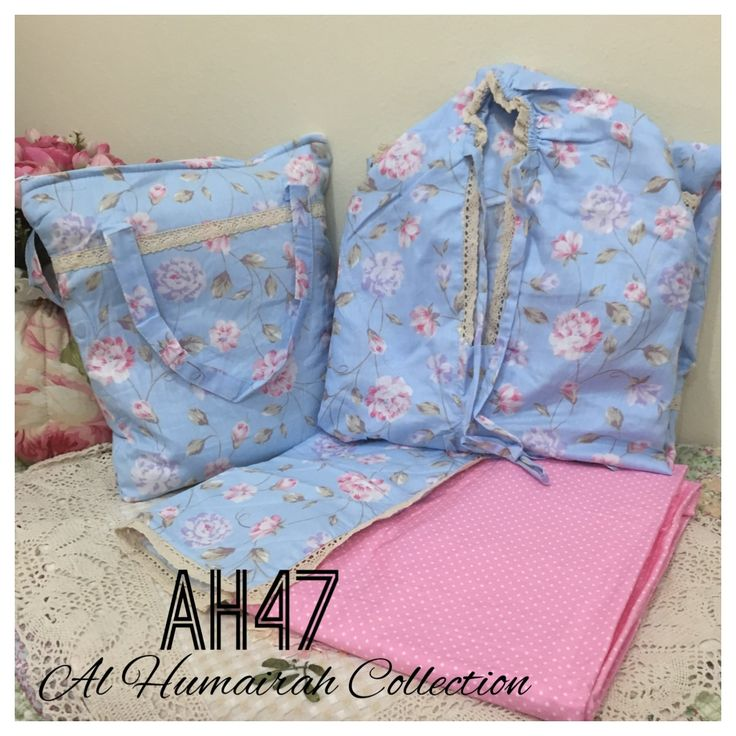 Al Humaira Telekung Cotton – AH47  RM150.00  – Telekung cotton with printed design  – Special vintage style design  – Japanese cotton material  – Face size up to L size  – Set includes beautiful handmade bag & mini sajaddah  – Limited pieces  http://www.telekung.co/product/ah47/