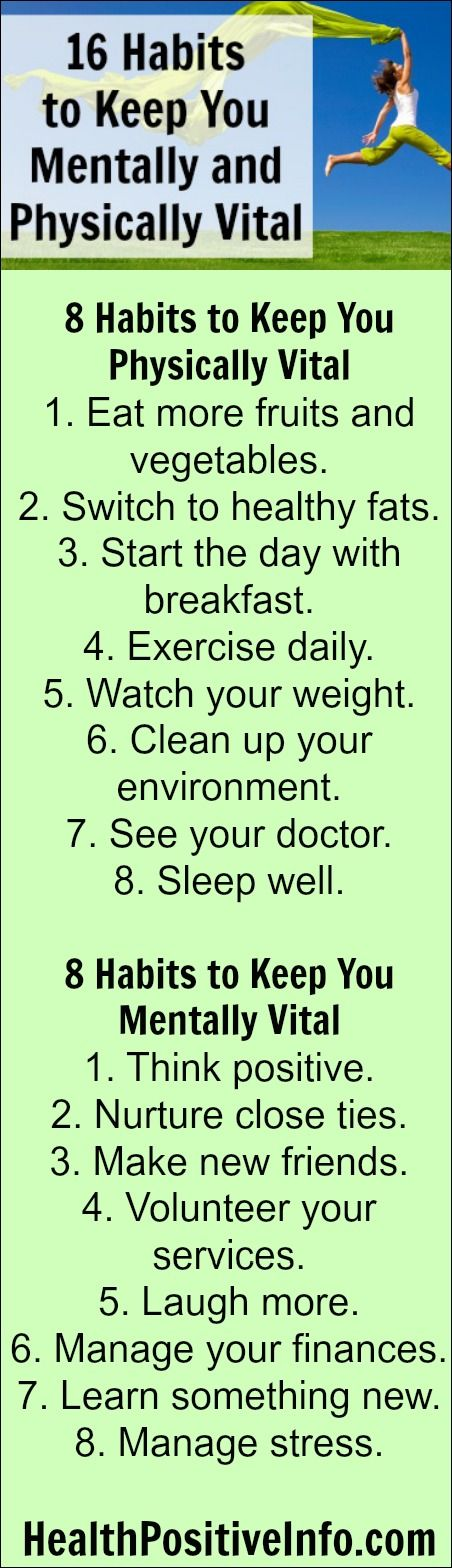 16 Habits to Keep You Mentally and Physically Vital ~ http://healthpositiveinfo.com/16-habits-to-keep-you-mentally-and-physically-vital-even-as-you-age.html