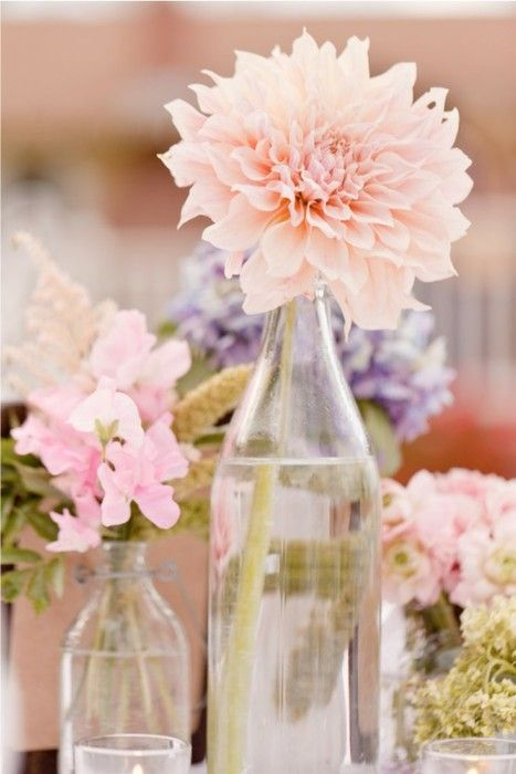 lovely.: Vase, Pastel, Ideas, Pink Flowers, Wedding, Dahlias, Old Bottle, Glasses Bottle, Centerpieces