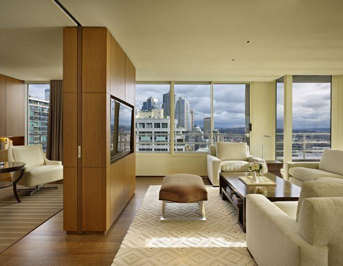 pocket door on a track, divider between sitting area / office / bedroom in master suite.