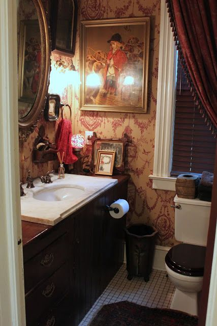 English Country Powder Room Love Everything About Thisespecially That Exquisite Wallpaper