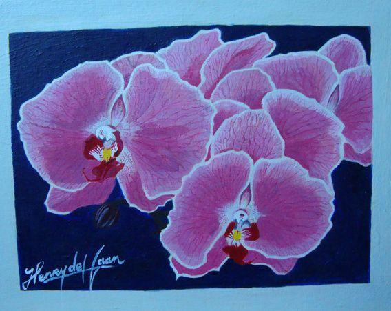 Koop 'Roze Orchideeen' van henry de haan voor aan de muur.