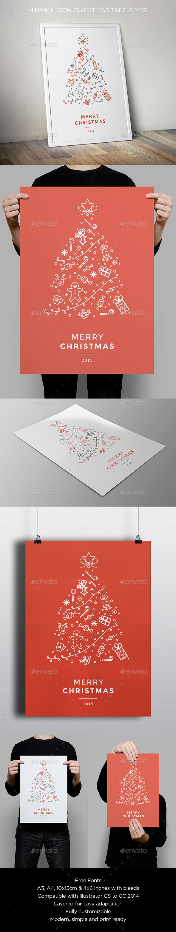 Minimal Icon Christmas Flyer Vector Template AI, EPS #design Download: http://graphicriver.net/item/minimal-icon-christmas-flyer/13652852?ref=ksioks