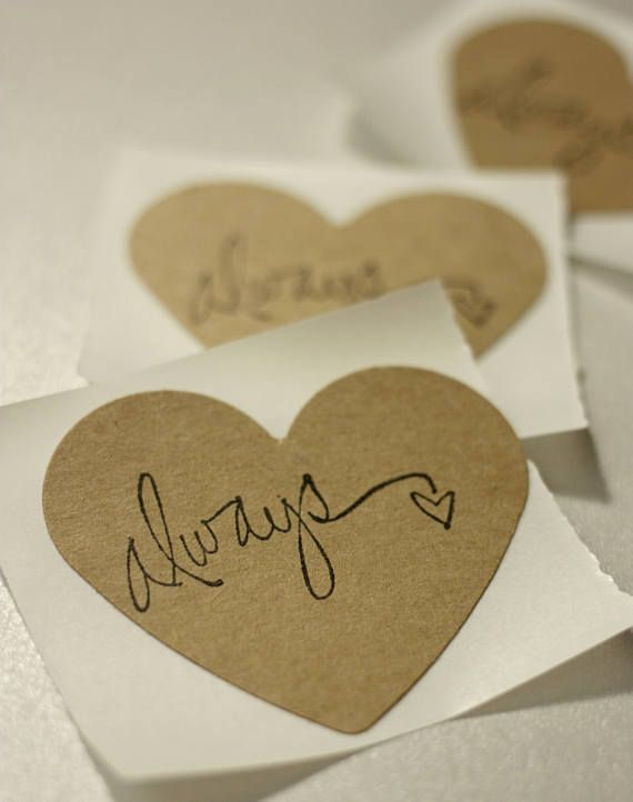 Rustic Always Stickers in Heart Shape. Click through to find matching games, favors, thank you cards, inserts, decor, and more.  Or shop our 1000+ designs for all of life's journeys. Weddings, birthdays, new babies, anniversaries, and more. Only at Aesthetic Journeys
