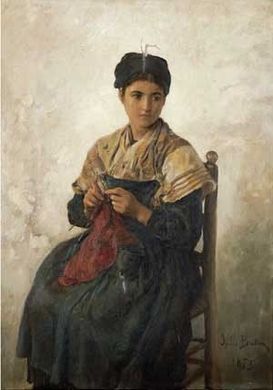 A Girl Knitting Art Print by Jules Adolphe Aime Louis at Barewalls.com