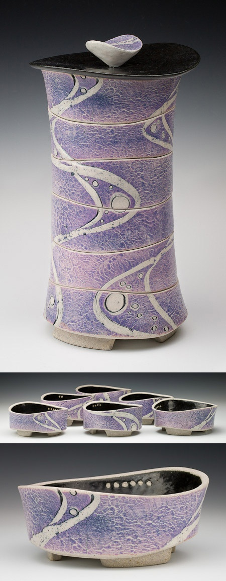 James Whiting - Set of 6 stacked bowls, lavender Beautiful design and glazing