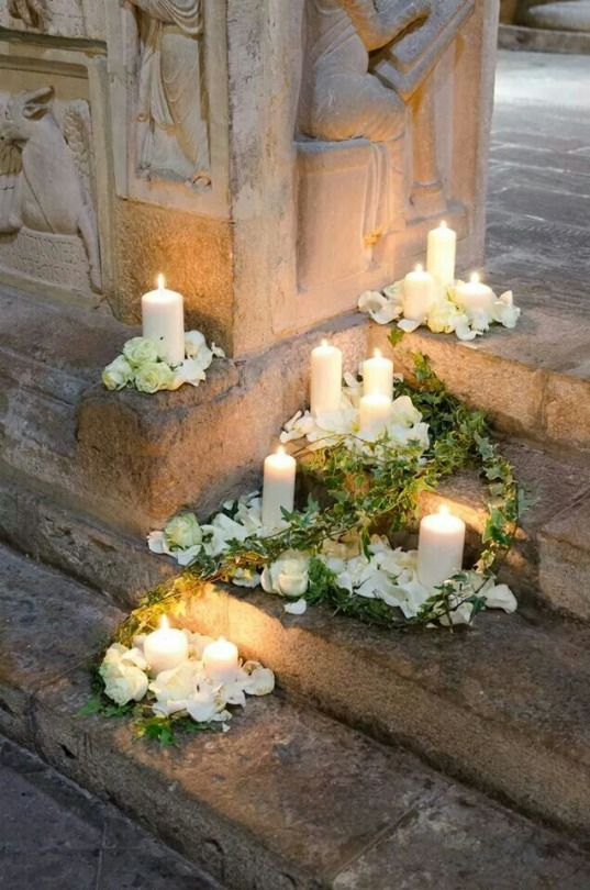 Find This Pin And More On Light By Ilseeek. Beautiful Candles Wrapped In White  Roses ...