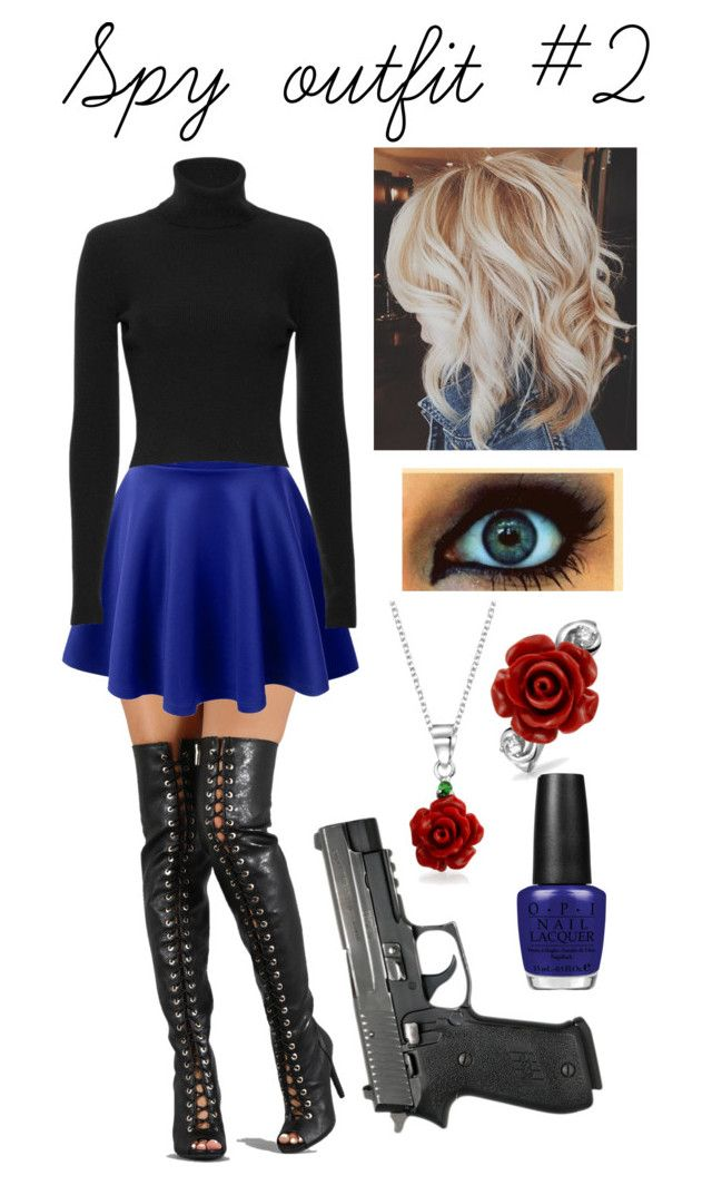 """""""Spy outfit #2"""" by americaneagle3297 ❤ liked on Polyvore featuring Dollhouse, LE3NO, A.L.C., OPI and Bling Jewelry"""