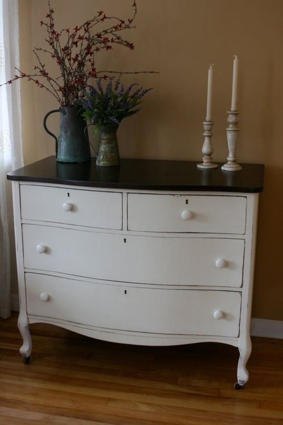 White Dresser Black Top Except With Black Hardware For