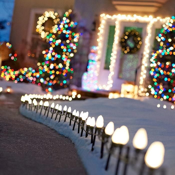 Start with path lights. Work your way from the ground up, illuminating bushes, trees, windows, doors, and the roofline.  #Christmas