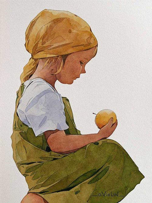 """""""La petite paysanne"""" aquarelle d'Olivier Violin."""