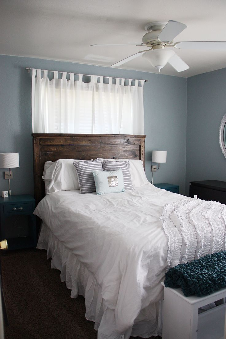 Nice colors for bedroom: blue cloud, antique silver, and french grey.love  the wall color!