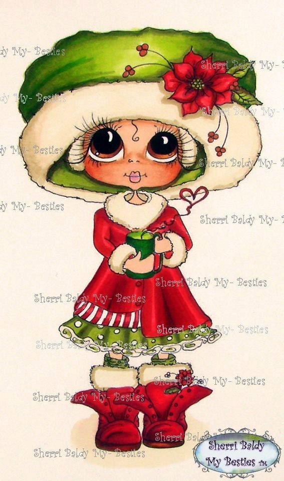 INSTANT DOWNLOAD Digital Digi Stamps  Digi Big Eye Big Head Dolls Digi  Winter Scan0004 By Sherri Baldy