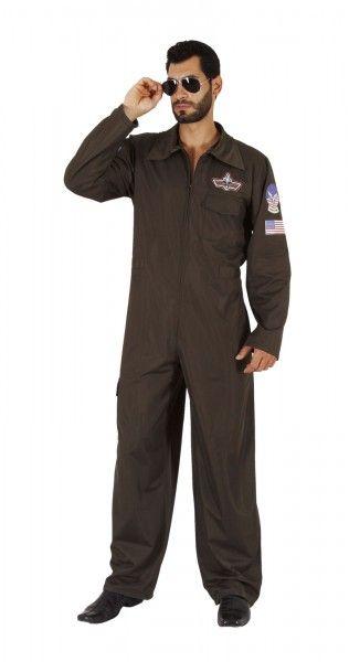 Jet Pilot Karnevalskostüm Herren: Fliegerkostüm Top Gun
