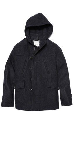 Billy Reid Hooded Wool Duffle Coat