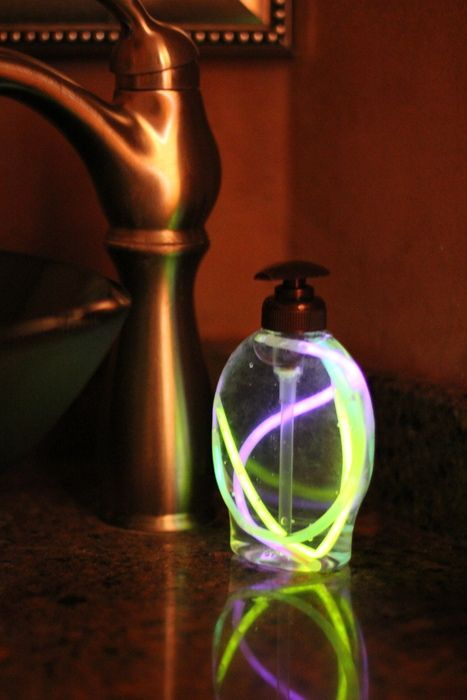 glow sticks in soap dispensers for parties.