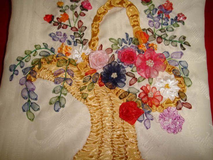 Dibujos de flores para bordar con cintas buscar con google bordados pinterest ribbons - Flores de telas hechas a mano ...