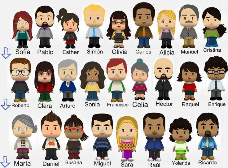 """A1 - Para jugar al """"quién es quién"""". Los muñecos están hechos en la aplicación """"pocoyízate"""" de Pocoyó: http://www.pocoyize.com/"""