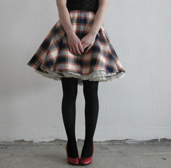 Plaid wool circle skirt.  The fact that it has a crinoline underneath is the best part!  I gotta get me one of those.