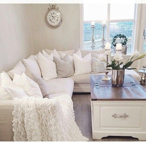 Big comfy L - shaped couch {neutral color palate}