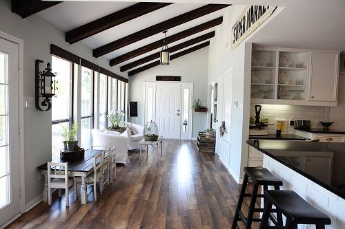 love the kid sized tableCeilings Beams, Exposed Beams, Open Spaces, Expo Beams, Joanna Gain, Farmhouse Kitchens, Magnolias Mom, Wood Beams, White Wall