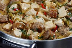 Chicken and Sausage Scarpariello, definitely trying this tonight!