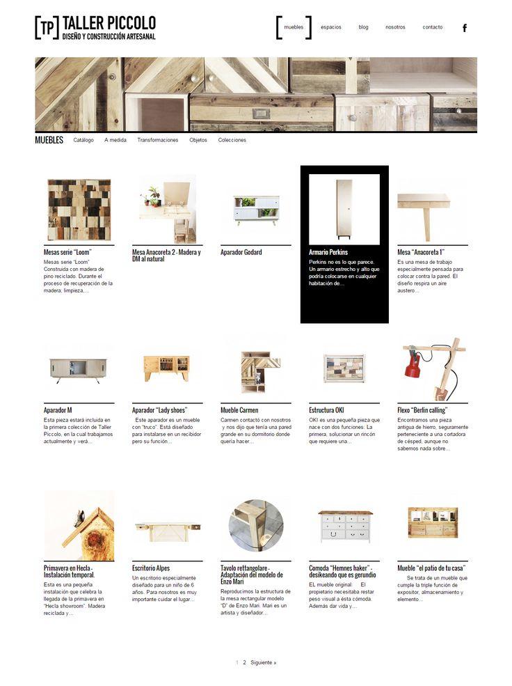 Taller Piccolo, el catálogo y blog de unos grandes artistas de la madera. Para que luzcan sus muebles a medida con tanto estilo, en factor ñ también les hemos hecho su web a medida.