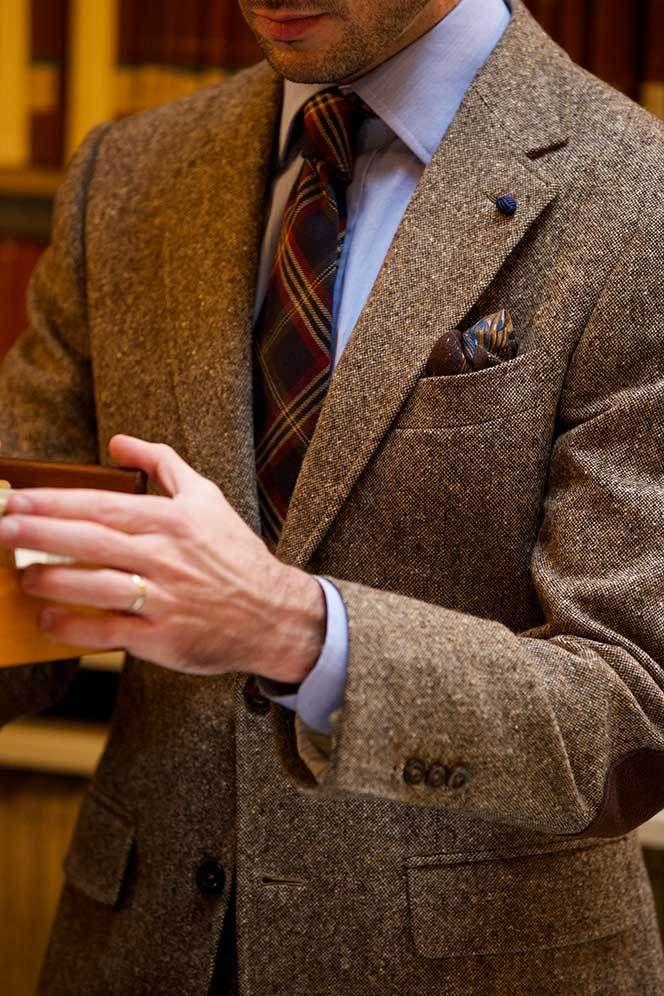 Brown Tweed Suit, light blue shirt, navy & red plaid tie